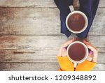 a cup of tea and a cozy autumn... | Shutterstock . vector #1209348892