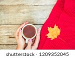 a cup of tea and a cozy autumn... | Shutterstock . vector #1209352045