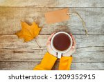 cup of tea in the hands of a... | Shutterstock . vector #1209352915