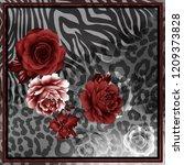 flowers silk scarf design ... | Shutterstock . vector #1209373828