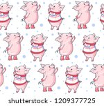 seamless pattern with cute... | Shutterstock .eps vector #1209377725