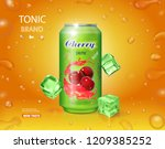 cherry cold drink. metal can... | Shutterstock .eps vector #1209385252