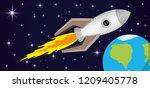 rocket in stellar space above... | Shutterstock .eps vector #1209405778