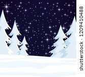 winter landscape with forest on ... | Shutterstock .eps vector #1209410488