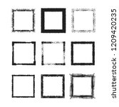 rough grunge frames set. square ... | Shutterstock .eps vector #1209420235