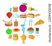 fresh pastry icons set. cartoon ... | Shutterstock .eps vector #1209435058