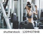 fitness asian woman doing... | Shutterstock . vector #1209437848
