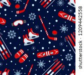 winter seamless pattern. vector ... | Shutterstock .eps vector #1209442558