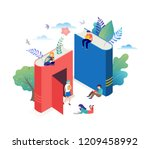 book festival concept of a... | Shutterstock .eps vector #1209458992