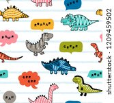 cartoon cute dinosaurs with... | Shutterstock .eps vector #1209459502