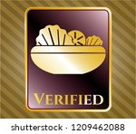 gold emblem with salad icon... | Shutterstock .eps vector #1209462088