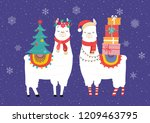 llama winter illustration  cute ... | Shutterstock .eps vector #1209463795