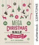 christmas poster for big sales. ... | Shutterstock .eps vector #1209472945