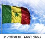 national flag of senegal on a... | Shutterstock . vector #1209478018