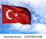 national flag of turkey on a... | Shutterstock . vector #1209481438