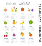 calendar 2019 with cute funny...   Shutterstock .eps vector #1209484552