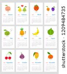 funny leafy calendar 2019 with...   Shutterstock .eps vector #1209484735