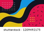abstract pop art line and dots... | Shutterstock .eps vector #1209492175