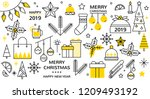christmas icon set with... | Shutterstock .eps vector #1209493192