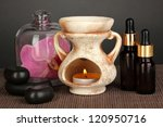 Aromatherapy lamp on grey background - stock photo