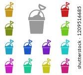 sand bucket icon in multi color....