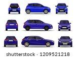 realistic cars set. hatchback.... | Shutterstock .eps vector #1209521218