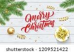 merry christmas or xmas gold... | Shutterstock .eps vector #1209521422