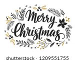 christmas callygraphic floral... | Shutterstock .eps vector #1209551755