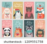 christmas cards with animals ... | Shutterstock .eps vector #1209551758
