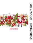 cute merry christmas and happy... | Shutterstock .eps vector #1209574435