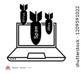 hacker attack icon | Shutterstock .eps vector #1209591022