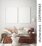 mock up poster frame in modern... | Shutterstock . vector #1209598465