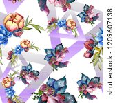 watercolor colorful bouquet...   Shutterstock . vector #1209607138