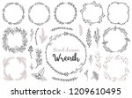 set of hand drawn wreath and... | Shutterstock .eps vector #1209610495