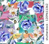 watercolor blue bouquet of...   Shutterstock . vector #1209611362