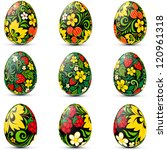 Easter Eggs Icon Set Decorated...