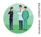 doctors and police | Shutterstock .eps vector #1209619768
