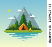 mountain landscape. solitude in ... | Shutterstock .eps vector #1209628468