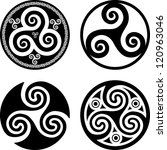 black isolated celtic triskels...