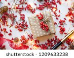 modern gift wrapping. doted...   Shutterstock . vector #1209633238