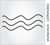 water wave  thin line icon...
