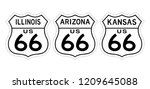 set highway or route 66 road... | Shutterstock .eps vector #1209645088