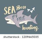 cute shark hand drawn sketch  t ... | Shutterstock .eps vector #1209665035