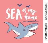 cute shark hand drawn sketch  t ... | Shutterstock .eps vector #1209665038