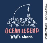 cute shark hand drawn sketch  t ... | Shutterstock .eps vector #1209665062