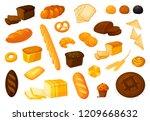 set vector bread icons. vector... | Shutterstock .eps vector #1209668632