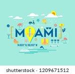 miami  florida vector design of ... | Shutterstock .eps vector #1209671512