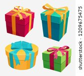 gift boxes set with red ribbon... | Shutterstock .eps vector #1209675475