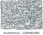 hand drawn doodle funny dogs... | Shutterstock .eps vector #1209681082