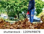 man working with  leaf blower ... | Shutterstock . vector #1209698878